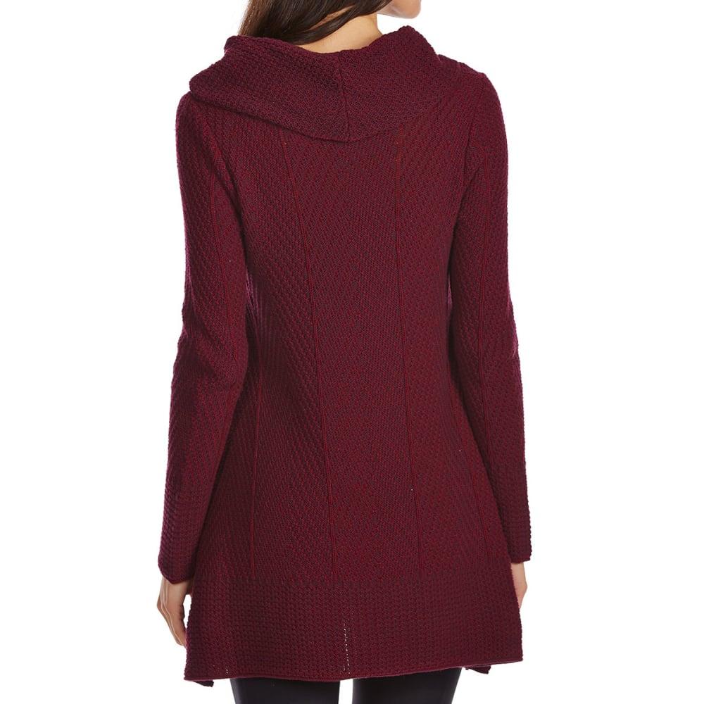 JEANNE PIERRE Women's Cowl Herringbone Tunic Sweater - WINE COMBO