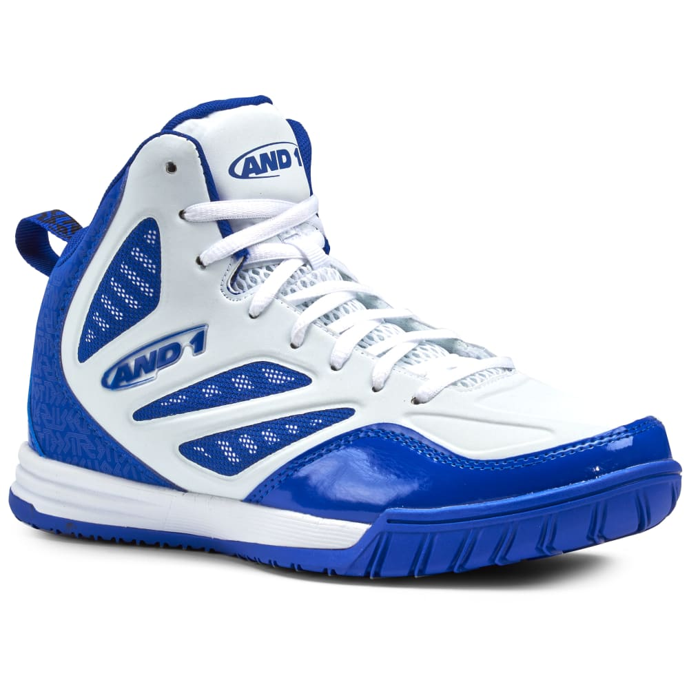 AND1 Men's Tactic Basketball Shoes, White/Royal - WHITE