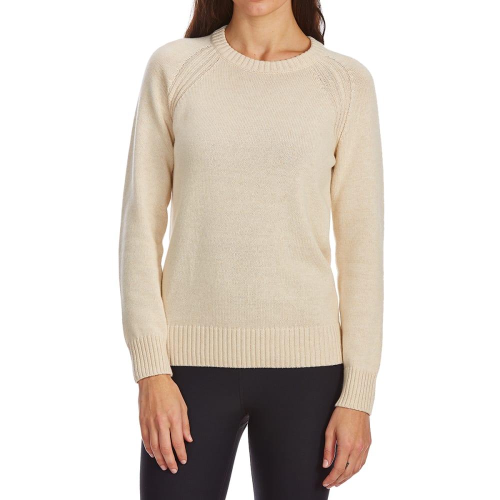 JEANNE PIERRE Women's Perfect Crewneck Long-Sleeve Sweater - LT BEIGE HEATHER