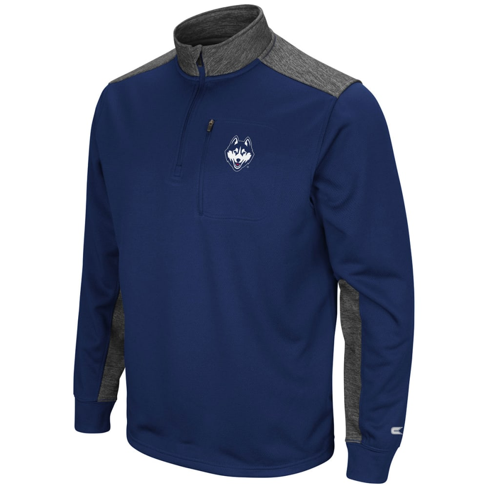 Uconn Men's Samir  1/4-Zip Fleece Long-Sleeve Pullover - Blue, M