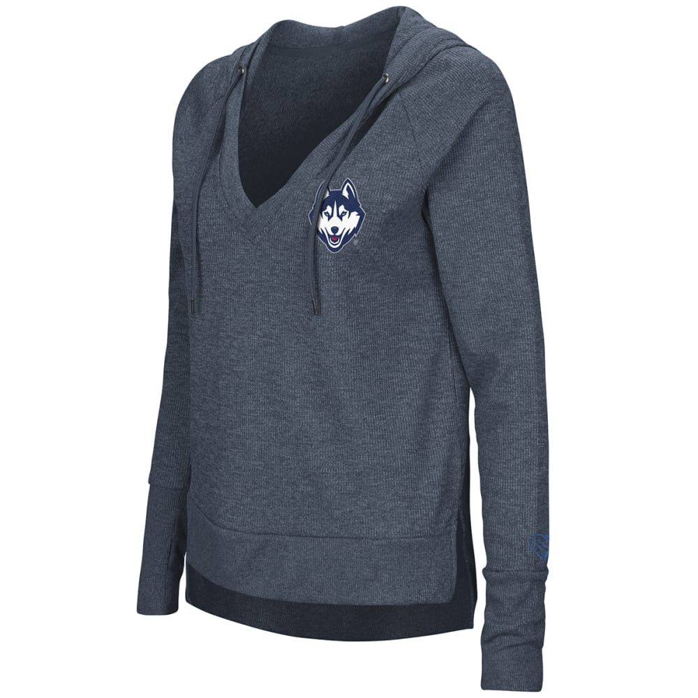 UCONN Women's Never Doubt Waffle V-Neck Pullover Hoodie - NAVY