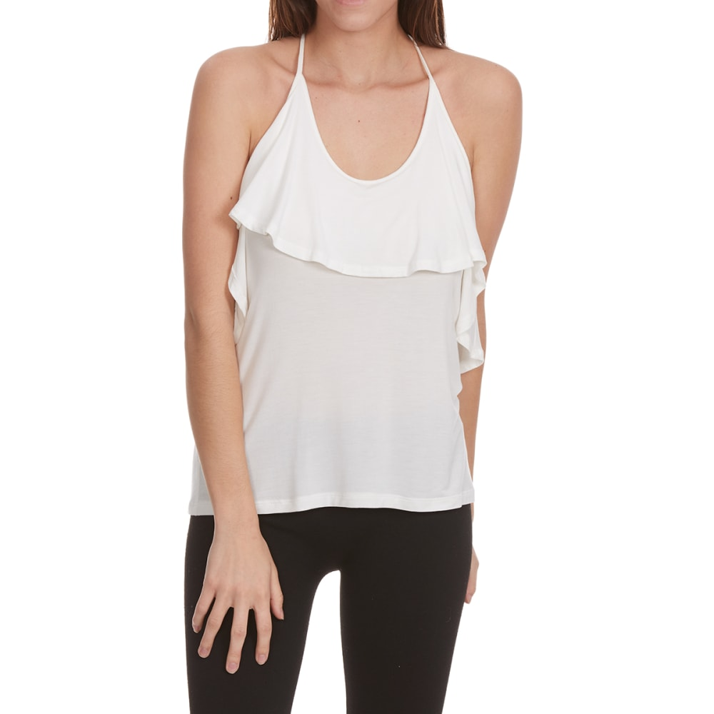 TRESICS Women's Strappy Ruffle-Front Tank Top - WHITE