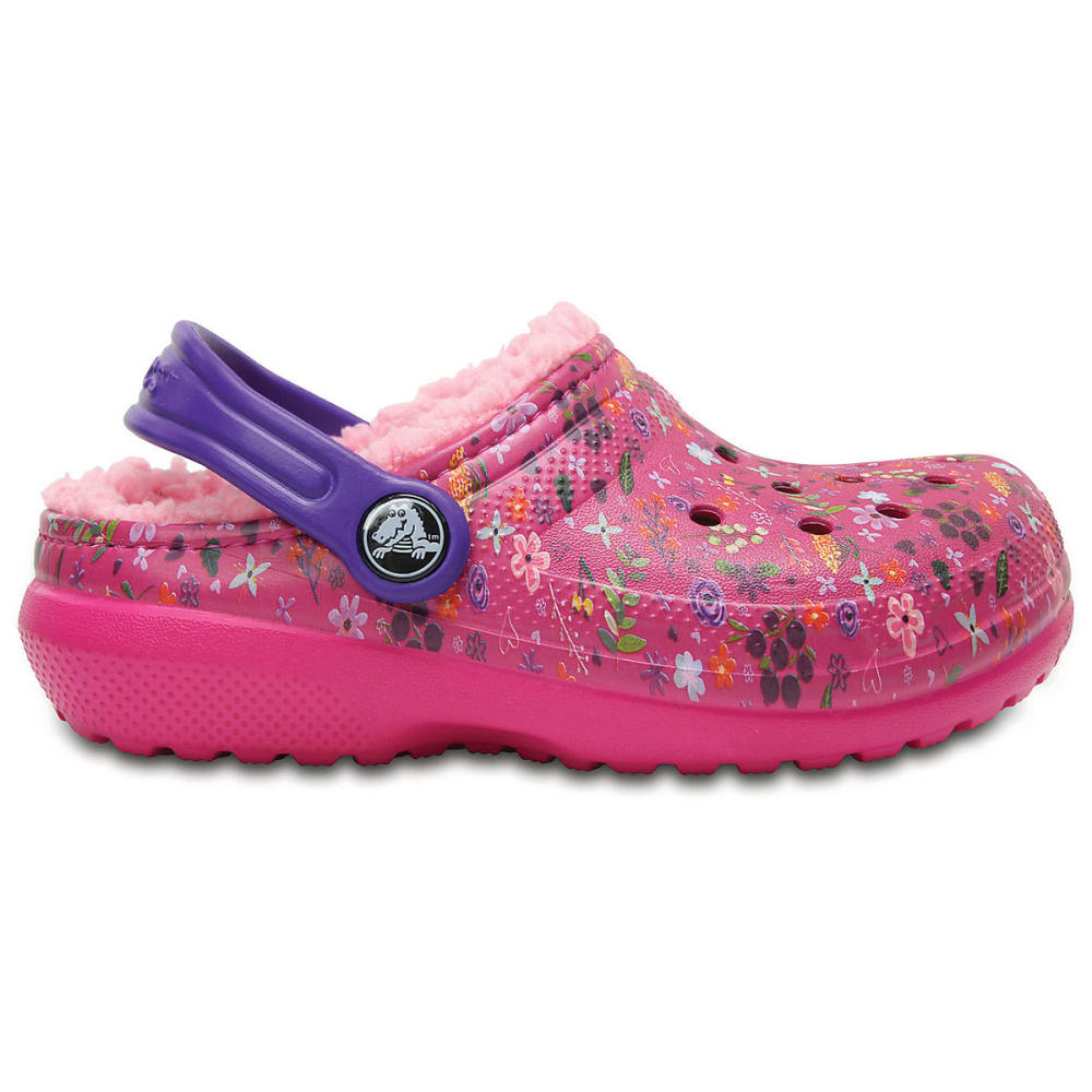 CROCS Girls' Classic Fuzz-Lined Graphic Clogs, Candy Pink/Peony - PINK