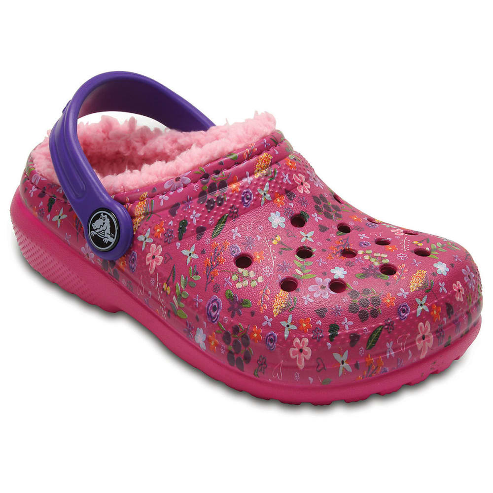Crocs Girls Classic Fuzz-Lined Graphic Clogs, Candy Pink/peony - Red, 1