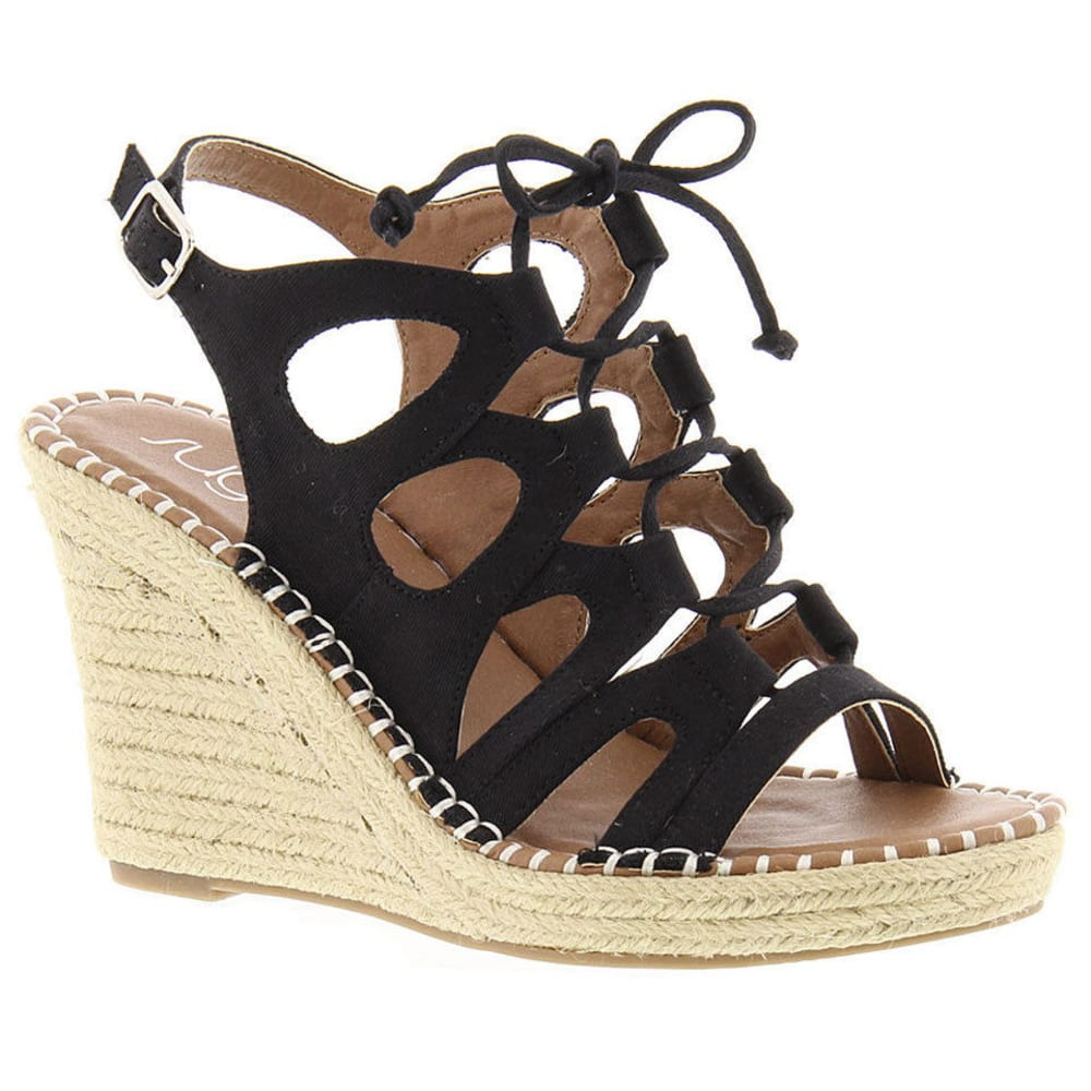 SUGAR Women's Hula Espadrille Wedge Sandals, Black - BLACK