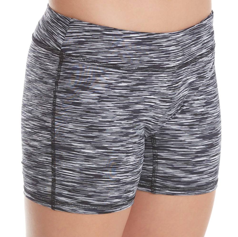 GAIAM Girls' Shape Up Boy Shorts - BLACK SPACE DYE