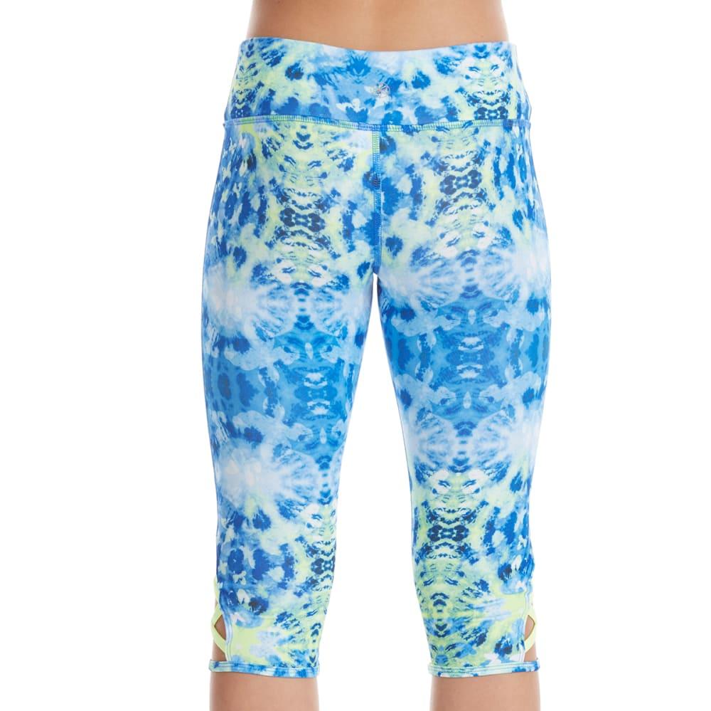 GAIAM Girls' Printed Harmony Capri Leggings - BLUE COMBO/LIMESHERB