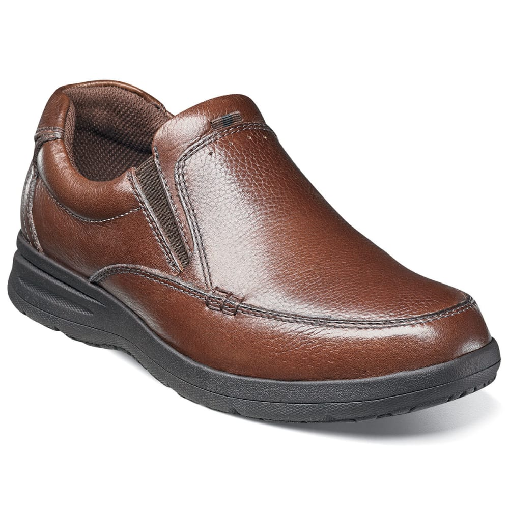 NUNN BUSH Men's Cam Moc Toe Slip-On Shoes, Wide - COGNAC