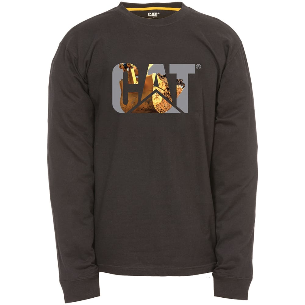 CATERPILLAR Men's Graphic Logo Long-Sleeve Tee - 11311 BLACK BUCKET