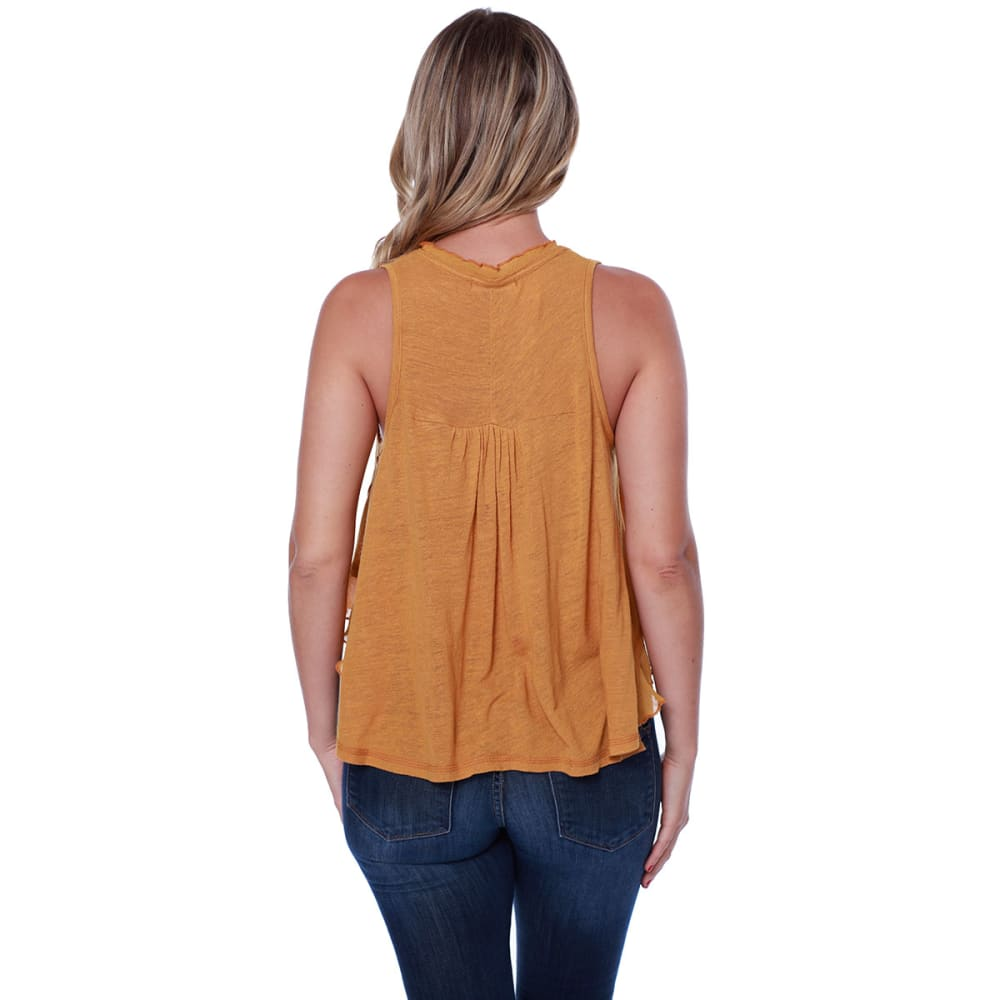 TAYLOR & SAGE Juniors' Embroidered High-Low Knit Tank - DSF-DEEP SAFFRON