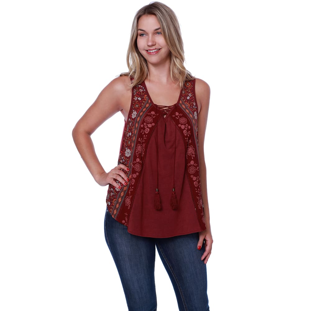 TAYLOR & SAGE Juniors' Lace Up Neck Swing Tank - HEB-HEARTBEAT