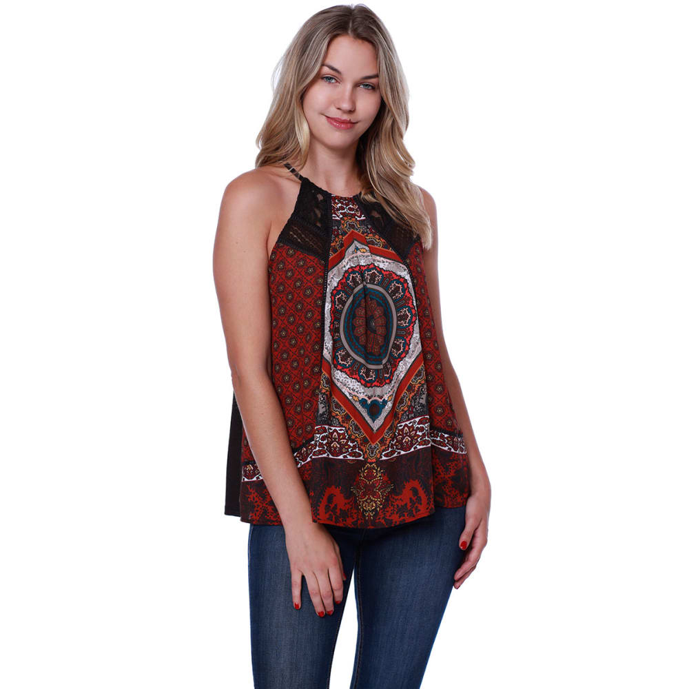 TAYLOR & SAGE Juniors' High Neck Printed Swing Tank - CHA-CHOCOLATE ALE
