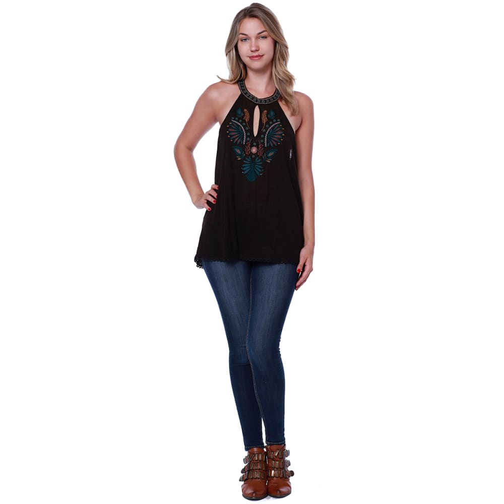 TAYLOR & SAGE Juniors' Hi-Neck Embroidered Front Tank - CHA-CHOCOLATE ALE
