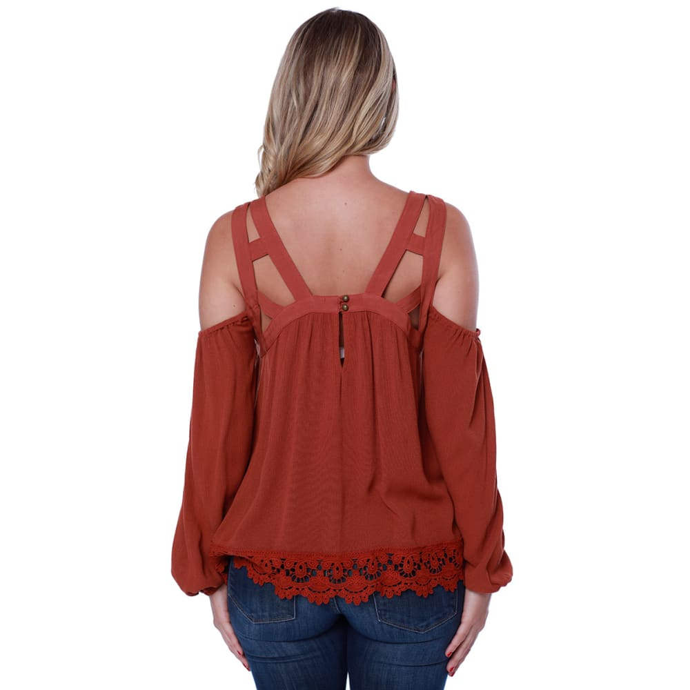 TAYLOR & SAGE Juniors' Cold-Shoulder Cutout Long-Sleeve Top - THN-THORNS