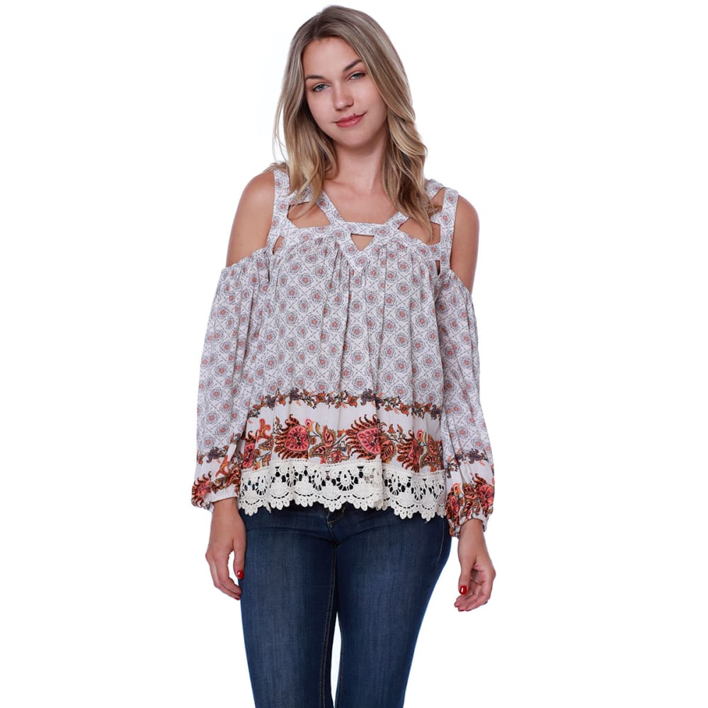 TAYLOR & SAGE Juniors' Printed Cold-Shoulder Cutout Long-Sleeve Top - ALB-ALMOND BEIGE
