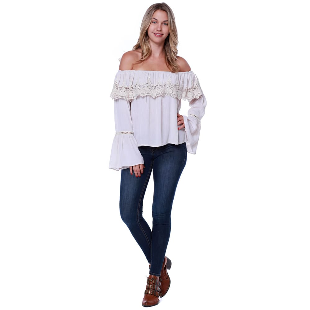 TAYLOR & SAGE Juniors' Off Shoulder Crochet Ruffle Bell-Sleeve Top - ALB-ALMOND BEIGE