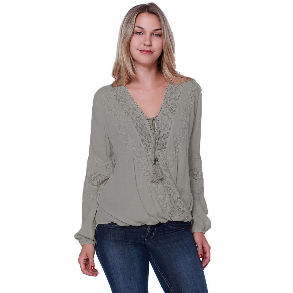 TAYLOR & SAGE Juniors' Lace Inset Balloon Waist Woven Long-Sleeve Top - PMC-PUMICE