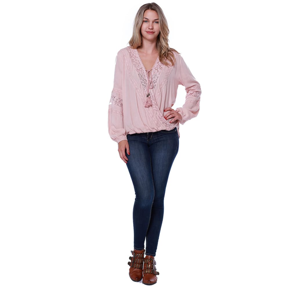 TAYLOR & SAGE Juniors' Lace Inset Balloon Waist Woven Long-Sleeve Top - RTN-ROSE TAN