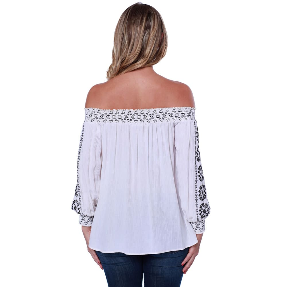 TAYLOR & SAGE Juniors' Border Print Off-Shoulder Woven Long-Sleeve Top - ALB-ALMOND BEIGE