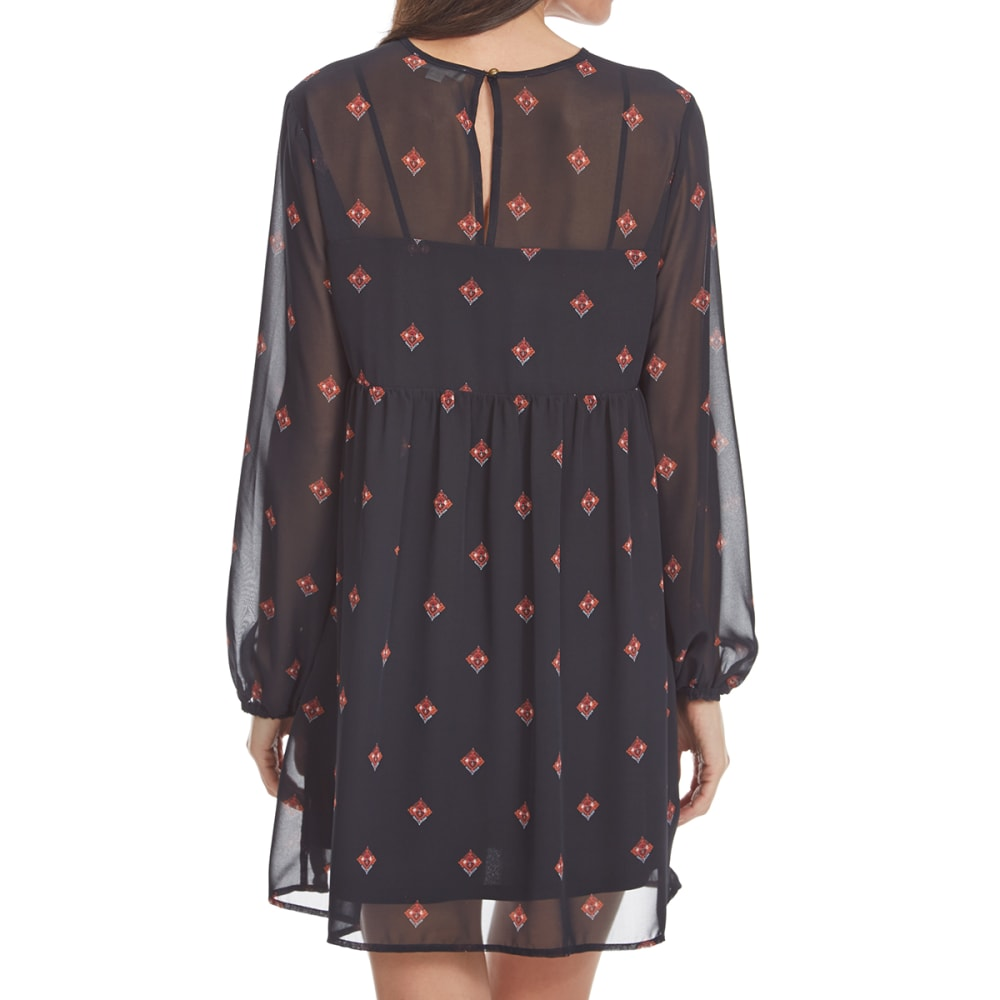 TAYLOR & SAGE Juniors' Rose Embellished Long-Sleeve Dress - CHA-CHOCOLATE ALE
