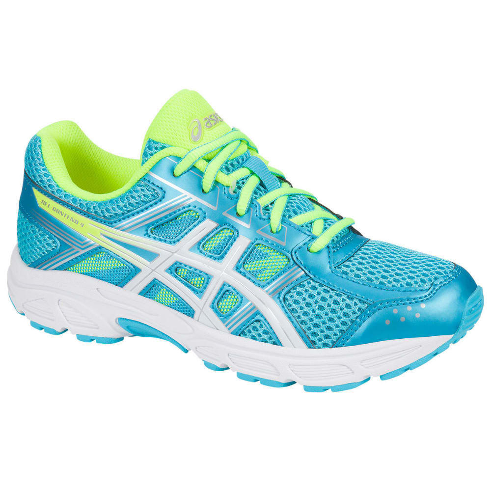 ASICS Girls' Grade School GEL-Contend 4 Running Shoes, Aquamarine/White/Yellow - BLUE