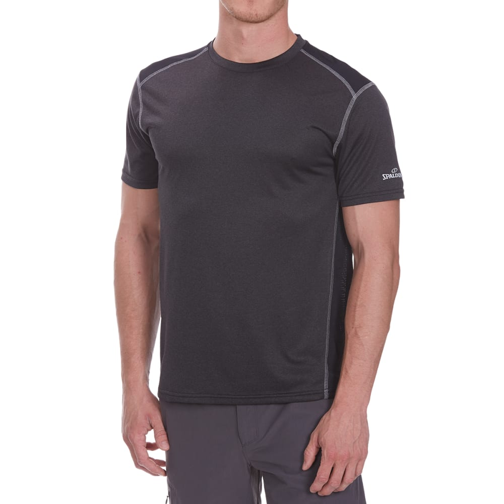 SPALDING Men's Double-Dye Crew Short-Sleeve Tee - BLACK HTR/GRAVEL
