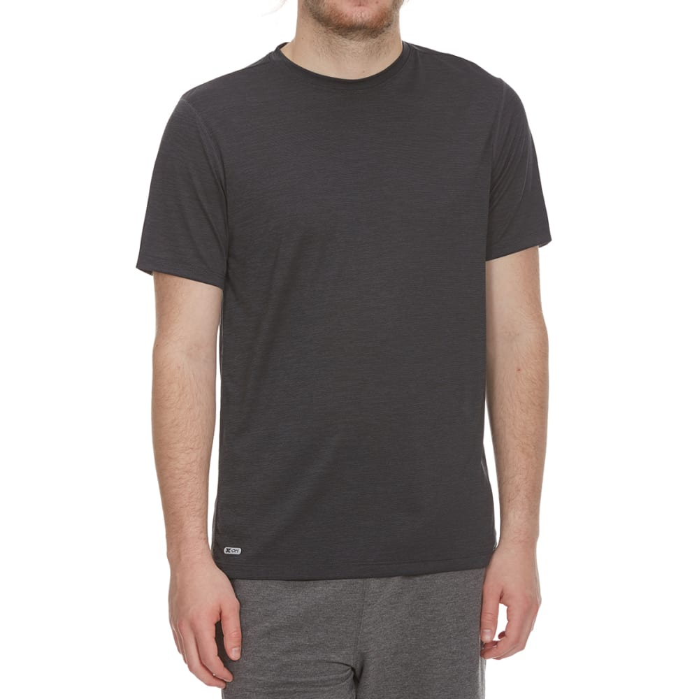 RBX Men's Fitted Heather Poly Jersey Short-Sleeve Tee - BLACK-A