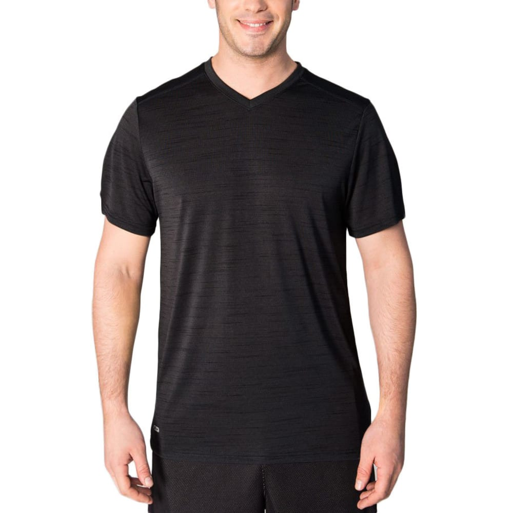 RBX Men's Fitted Heather Poly Jersey V-Neck Short-Sleeve Tee - BLACK-A