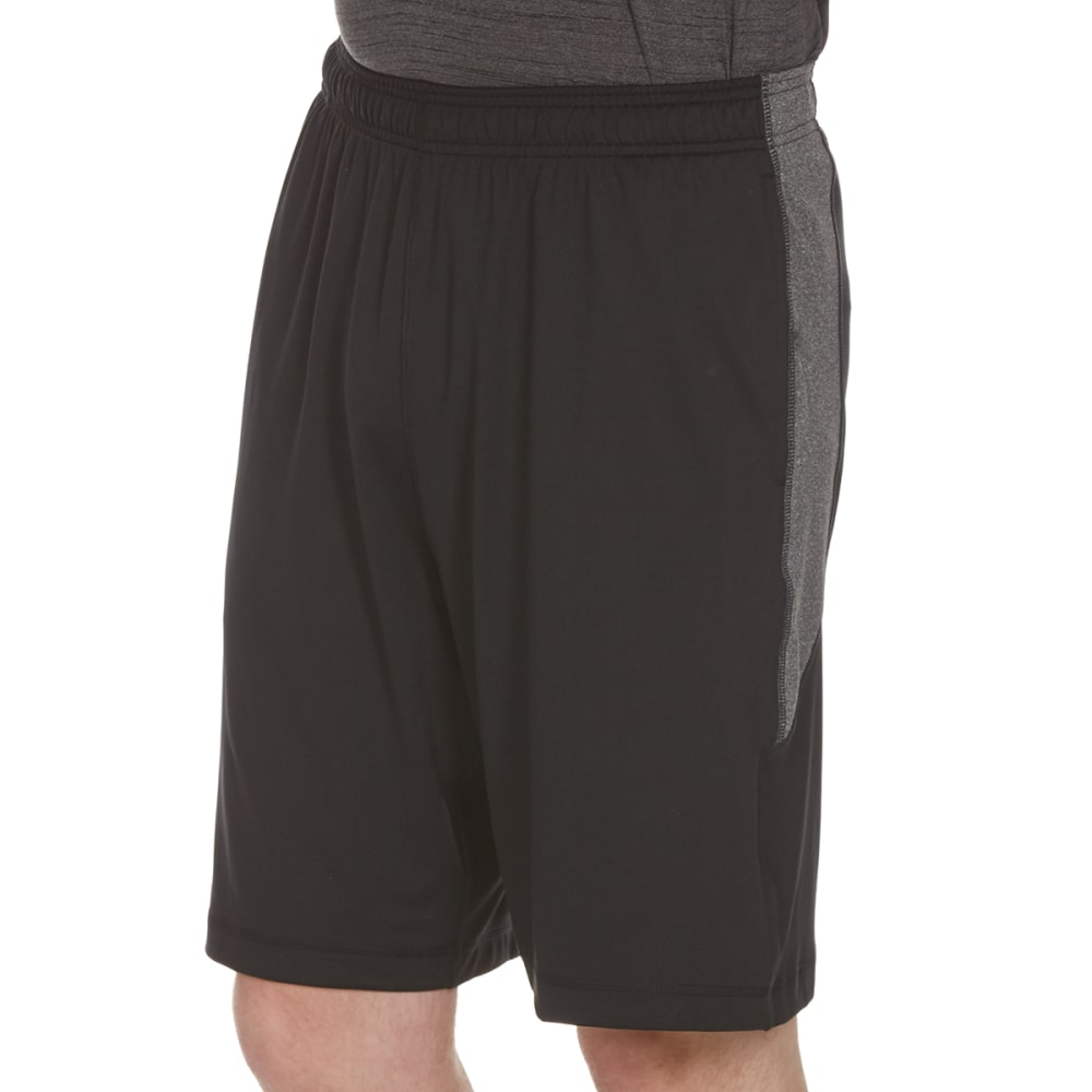 RBX Men's 9 in. Poly/Span Shorts with Contrast Self Insert - BLK/CHAR HTR-A
