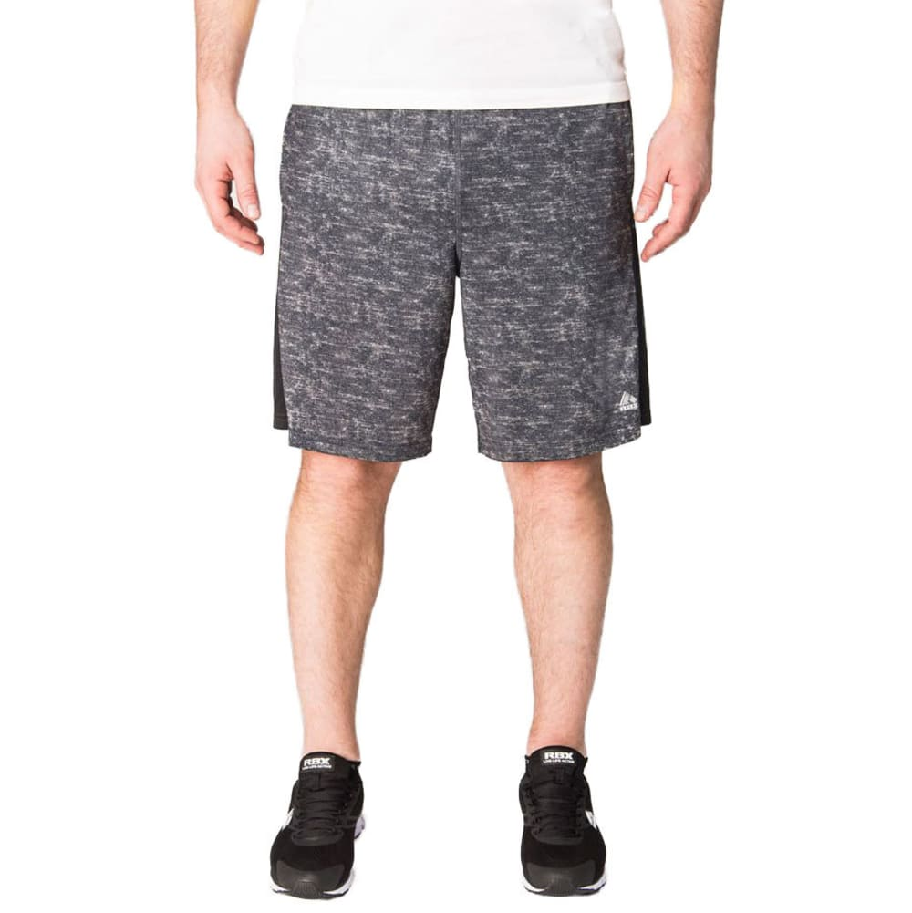RBX Men's 9 in. Poly/Span Printed Training Shorts - CHARCOAL-A