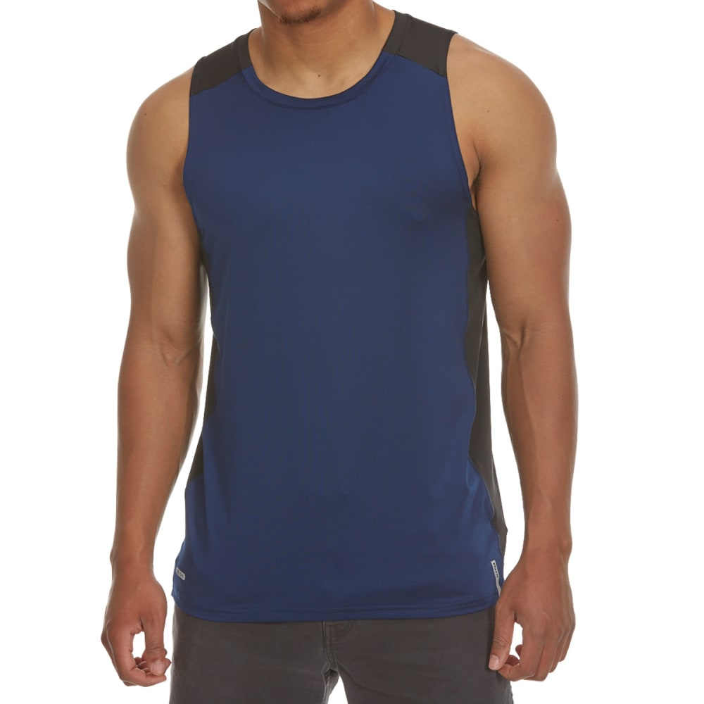 RBX Men's Poly/Spandex Color-Block Tank Top with Contrast Stitching - NEW NAVY/BLK-A