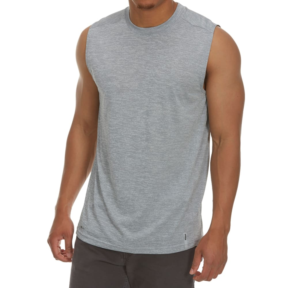RBX Men's Poly Novelty Heather Muscle Tank Top - GREY-A