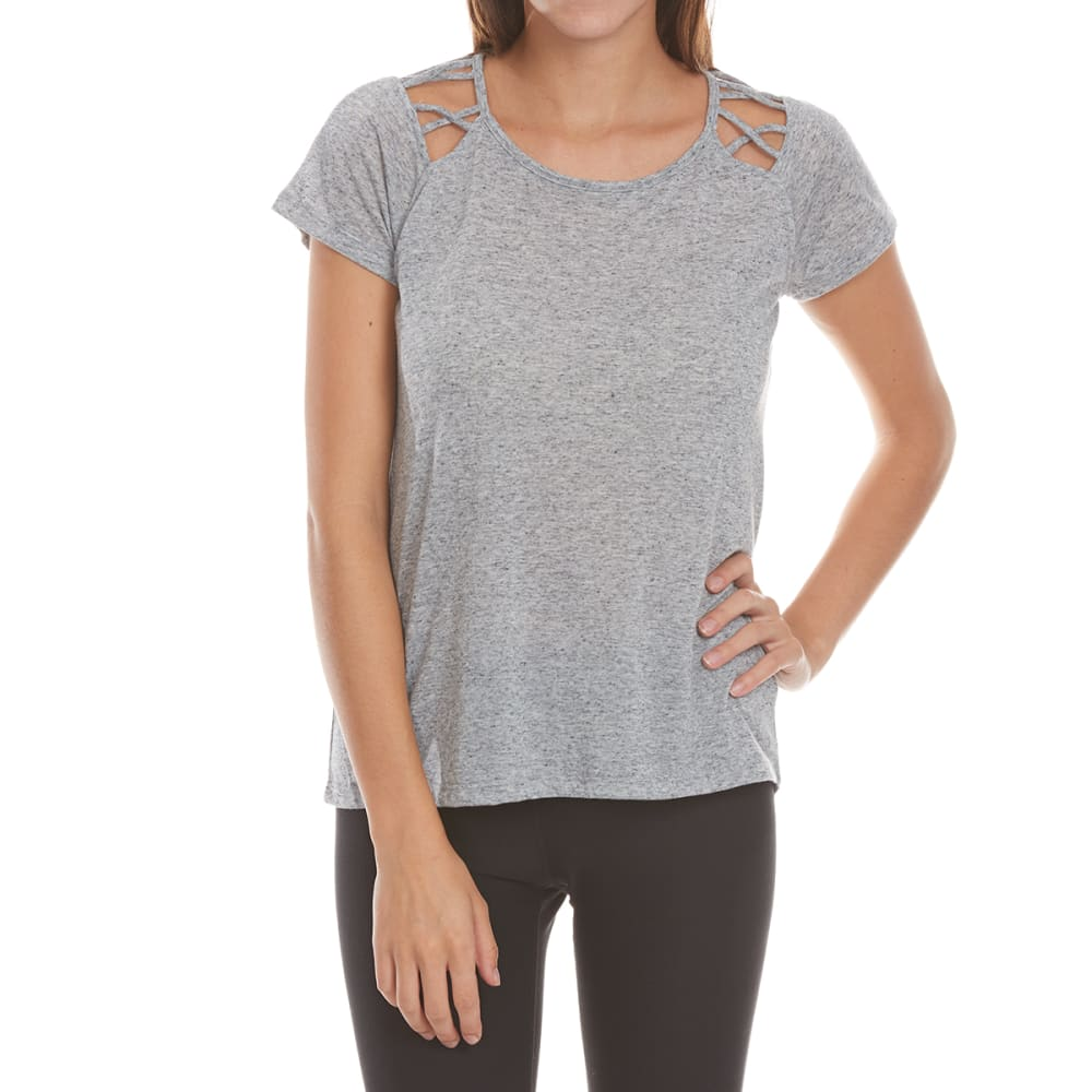 HARMONY and BALANCE Women's Speckle Jersey with Cut-Outs - GRY HTR-A