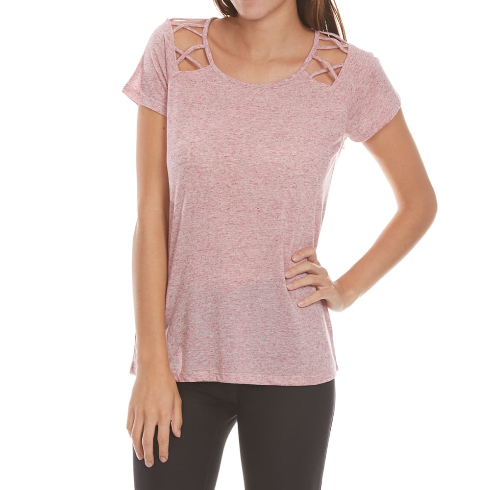 HARMONY and BALANCE Women's Speckle Jersey with Cut-Outs - ROSEHTR-B