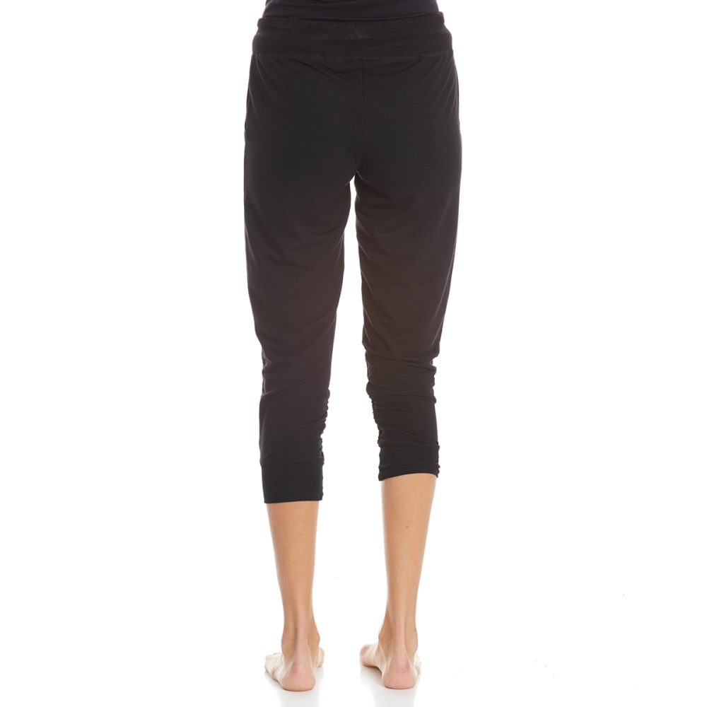 HARMONY AND BALANCE Women's Poly/Linen Baby French Terry Capri Pants - BLACK-A