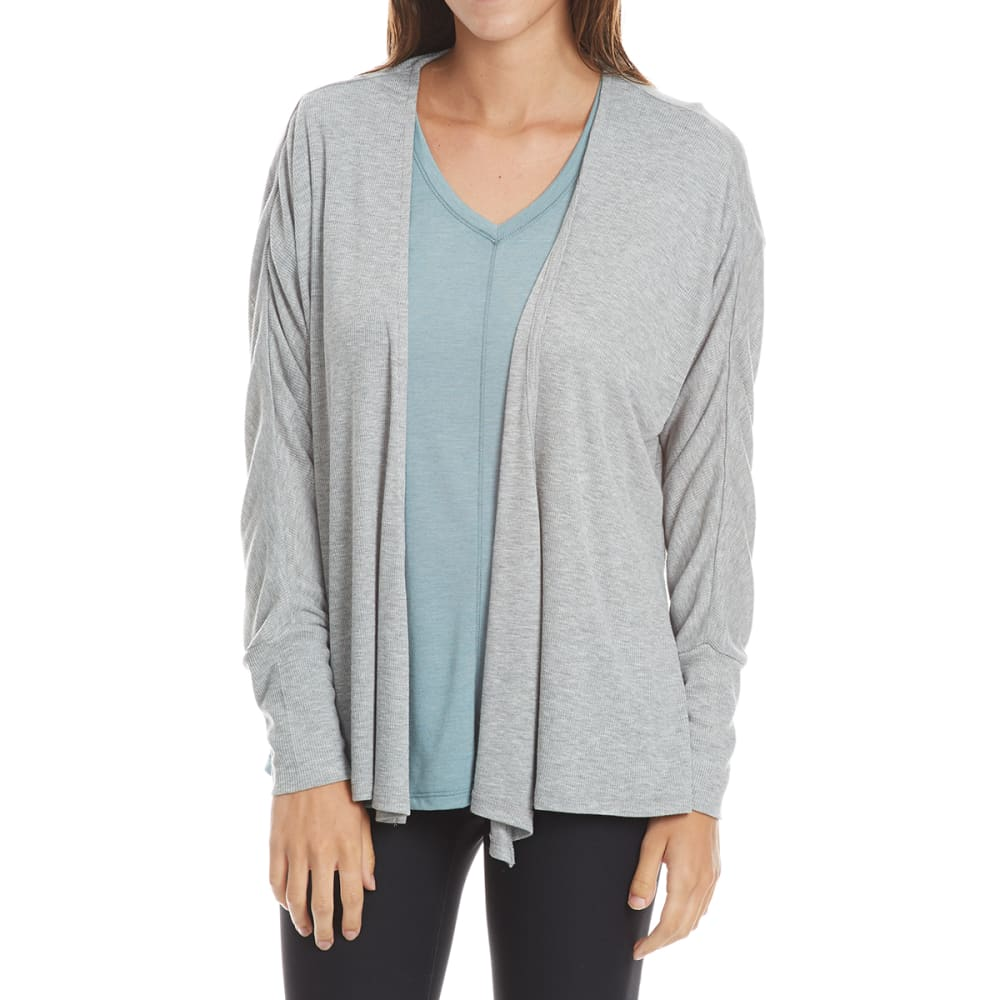 HARMONY AND BALANCE Women's Slub Rib Cardigan - LIGHT GREY HTR-A