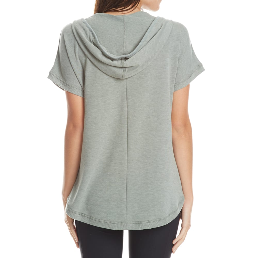 HARMONY AND BALANCE Women's Short-Sleeve Hooded Popover Top - THYME HTR-D