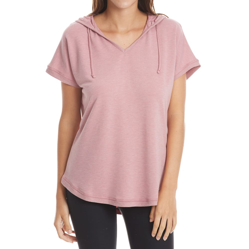 HARMONY AND BALANCE Women's Short-Sleeve Hooded Popover Top - ROSE HTR-B