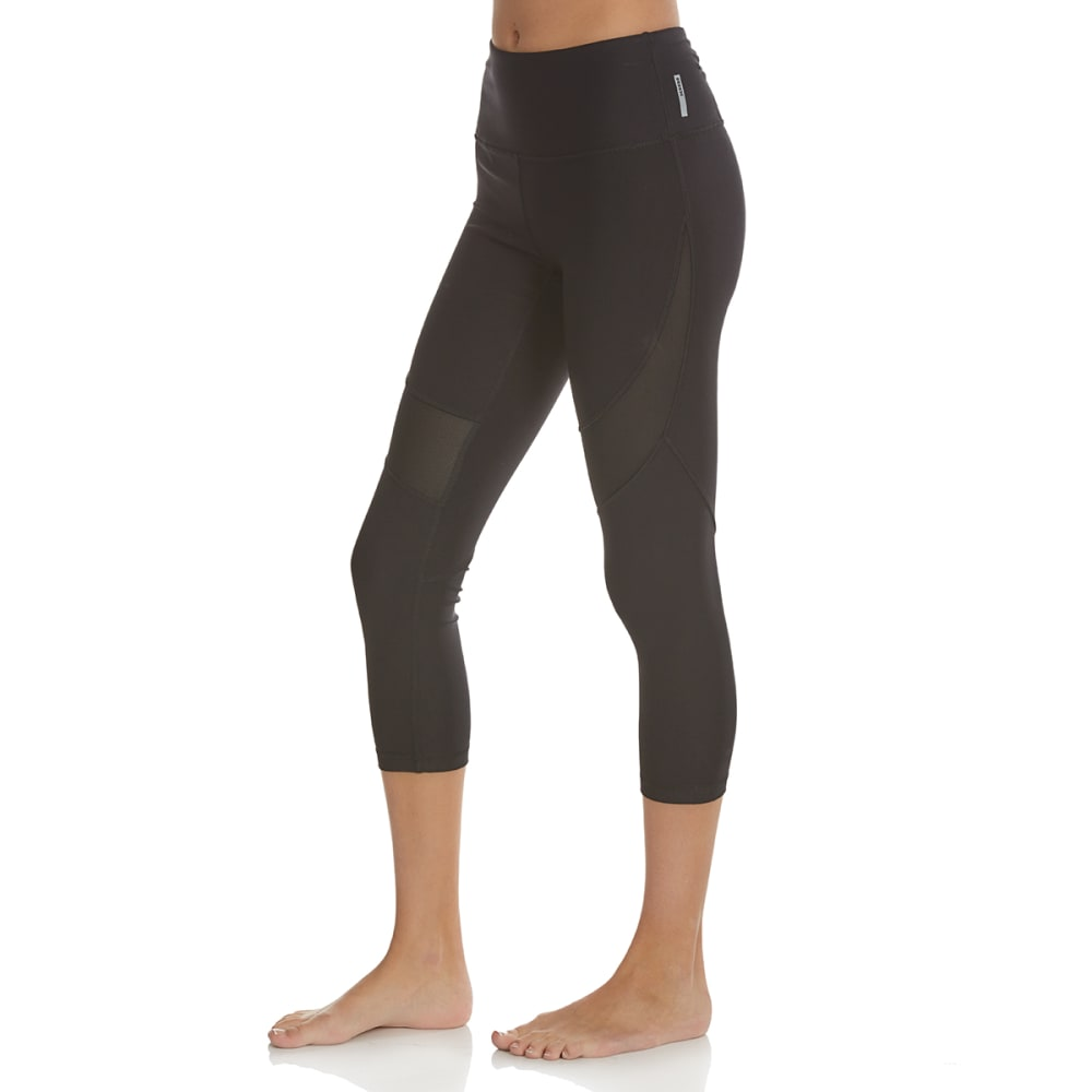 RBX Women's 21.5 in. Yoga Capri Pants with Mesh Inserts - BLACK