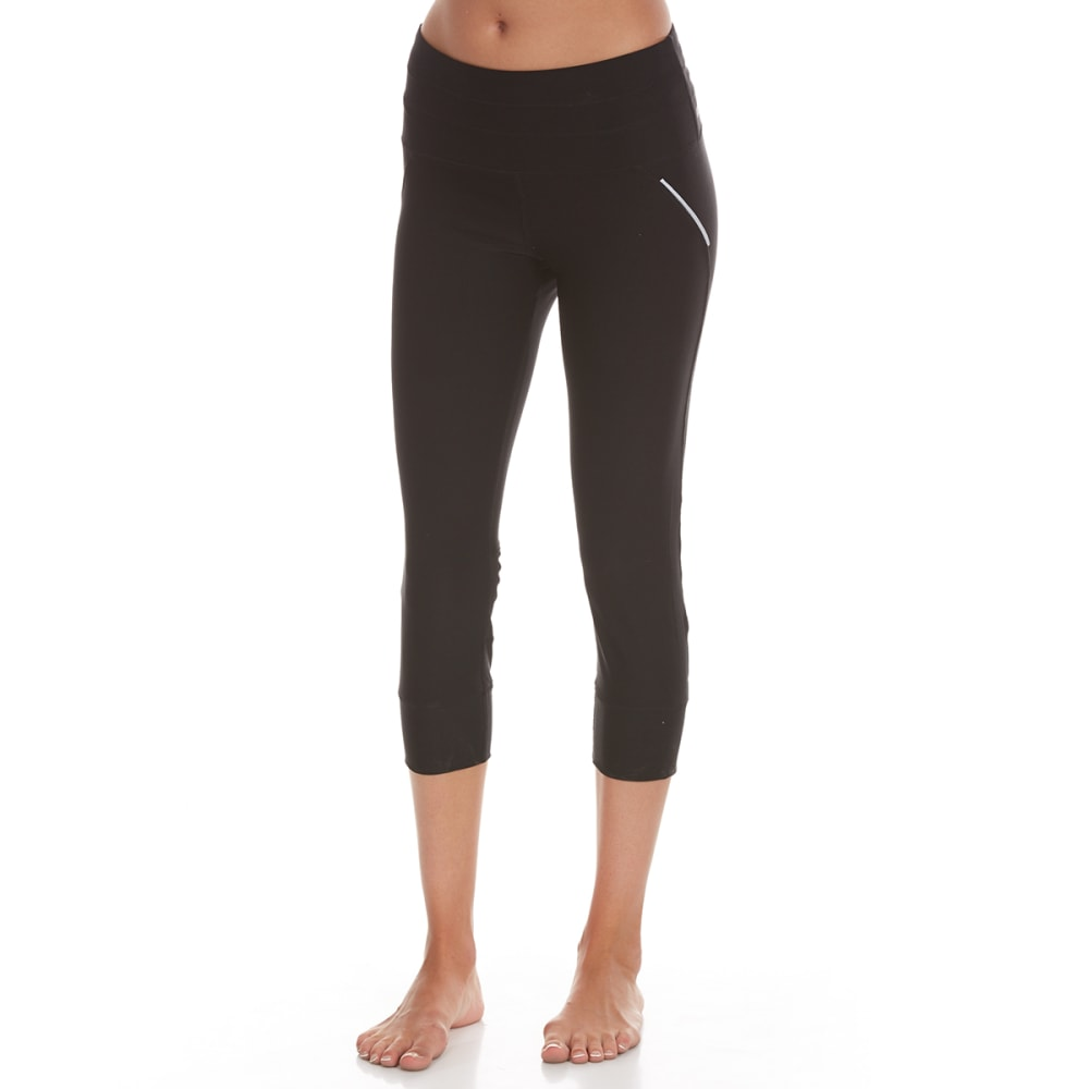 RBX Women's 21 in. Yoga Capri Leggings with Tricot Mesh - BLACK-A22