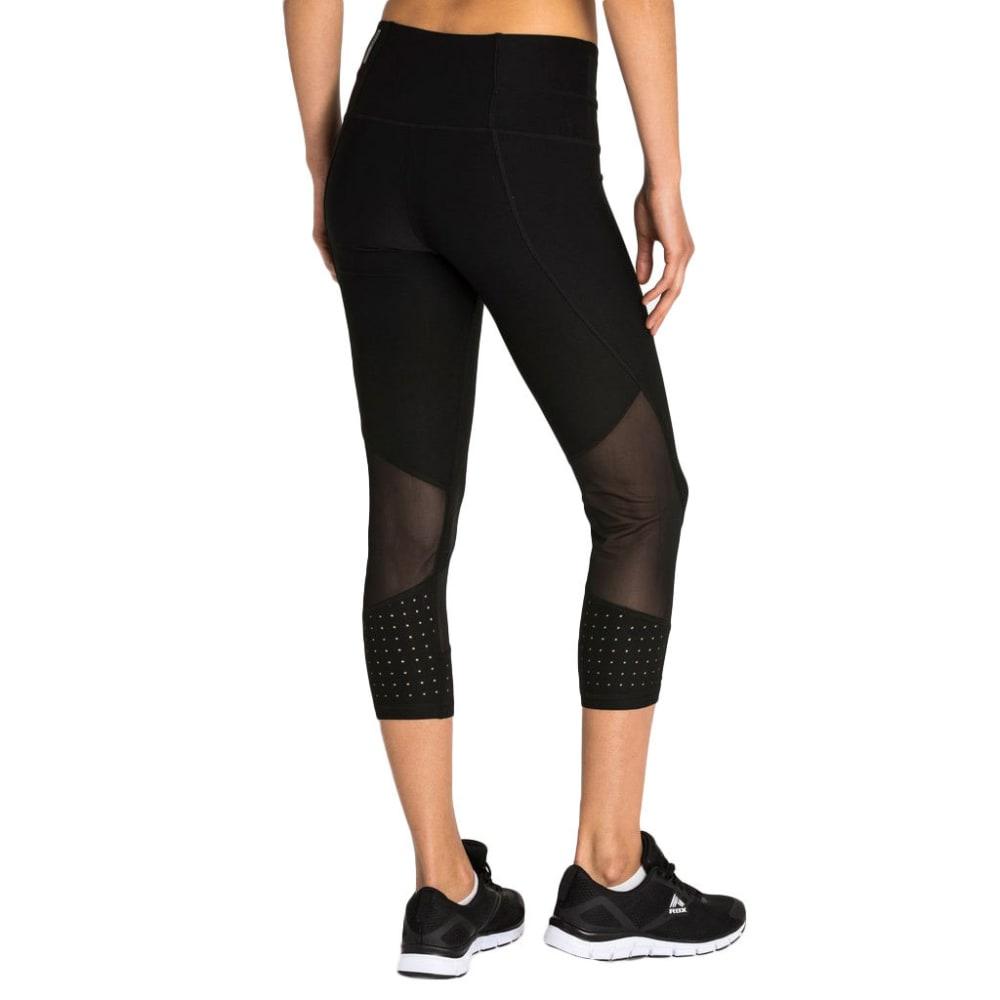 RBX Women's 21 in. Lazer Cut Yoga Capri Leggings with Power Mesh - BLACK-A