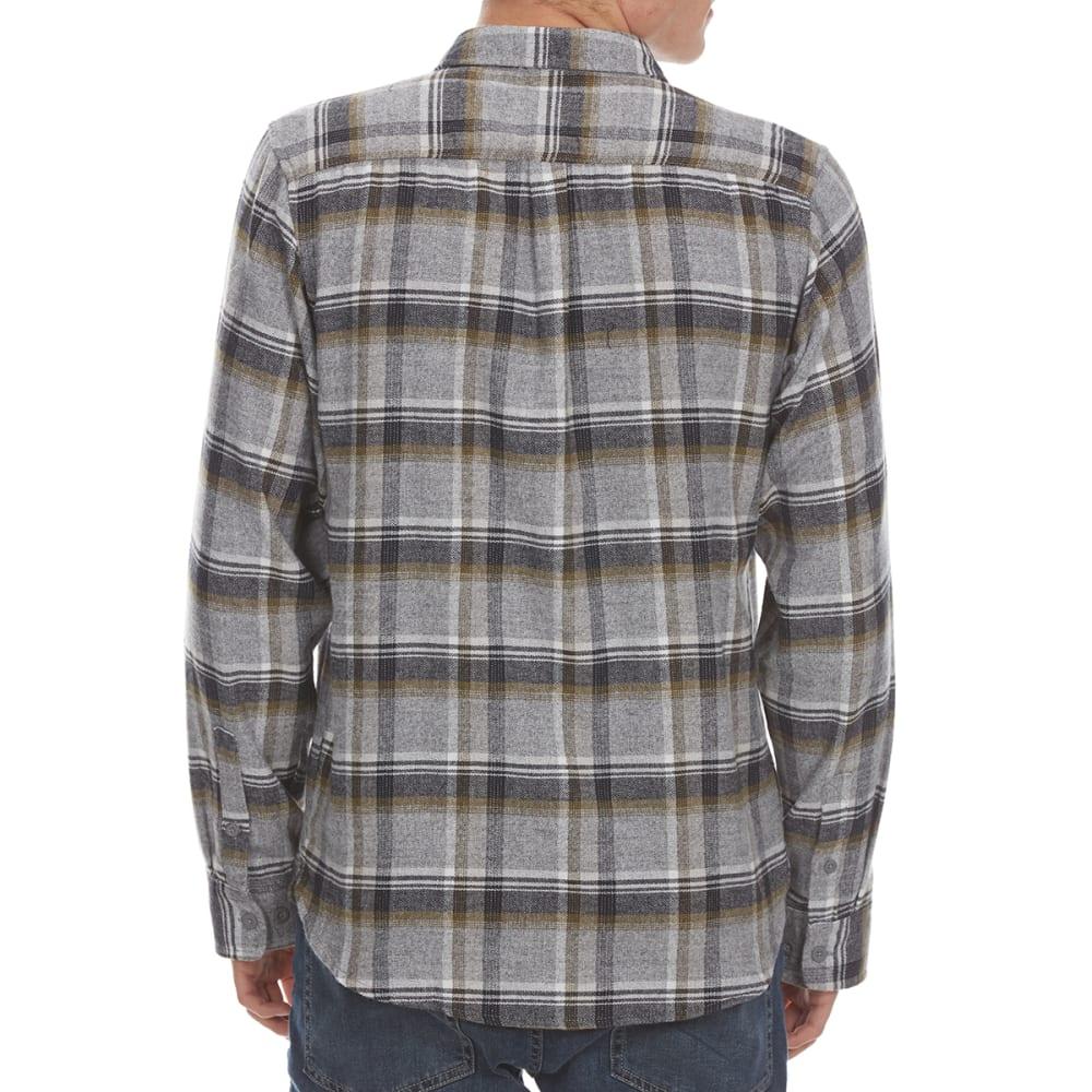 BURNSIDE Guys' Flannel Button-Down Shirt - GREY/OLIVE