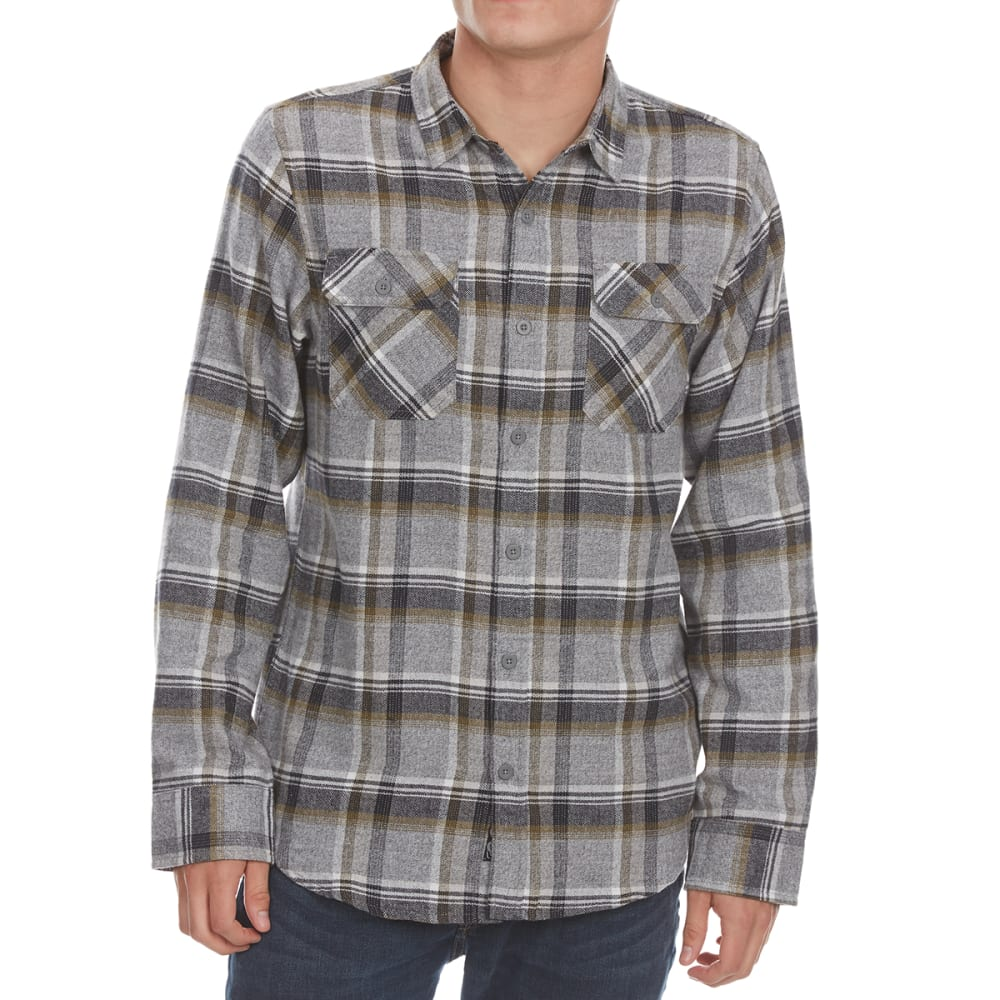 BURNSIDE Guys' Flannel Button-Down Shirt - GREY/OLIVE