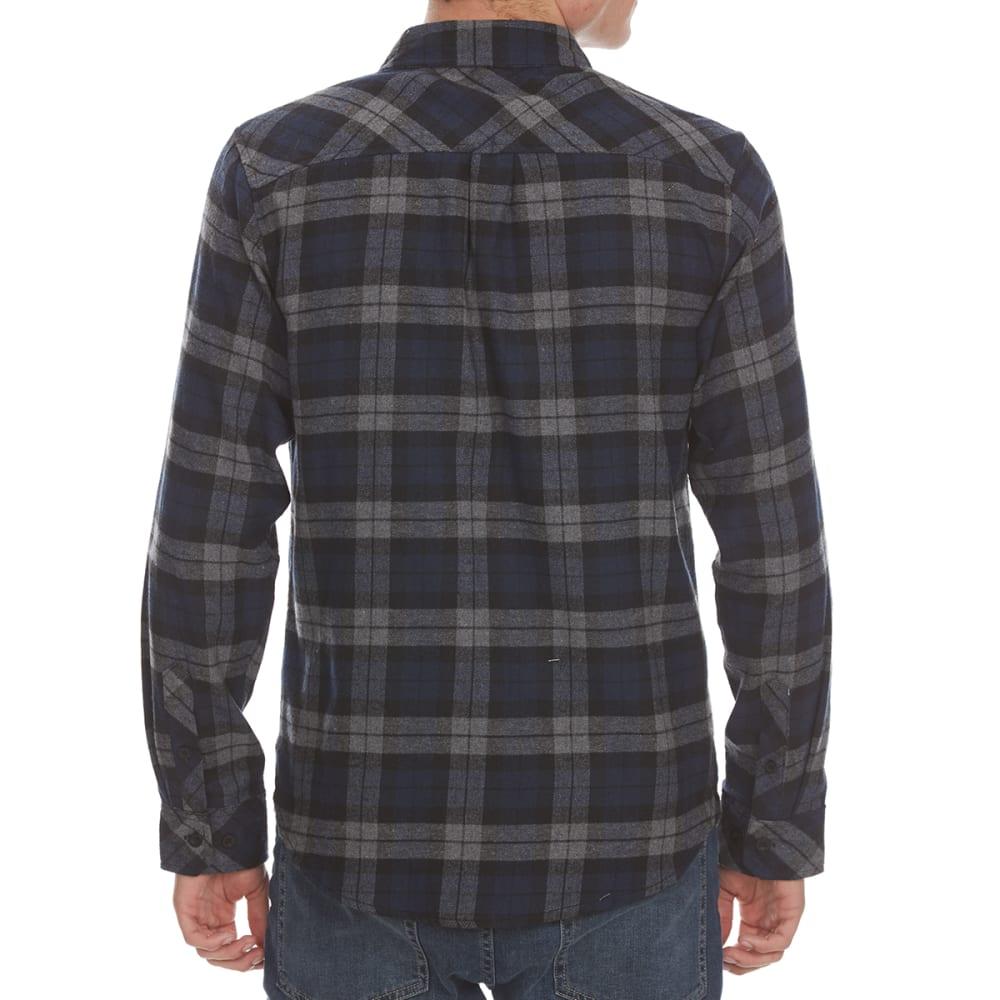 BURNSIDE Guys' Flannel Woven Long-Sleeve Shirt - NAVY/GRY