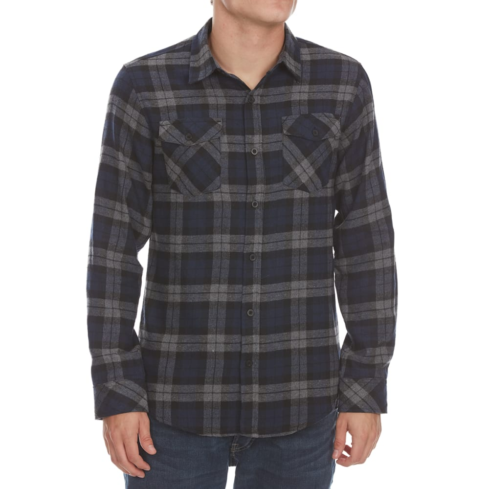 BURNSIDE Guys' Flannel Woven Long-Sleeve Shirt - NAVY/GRY