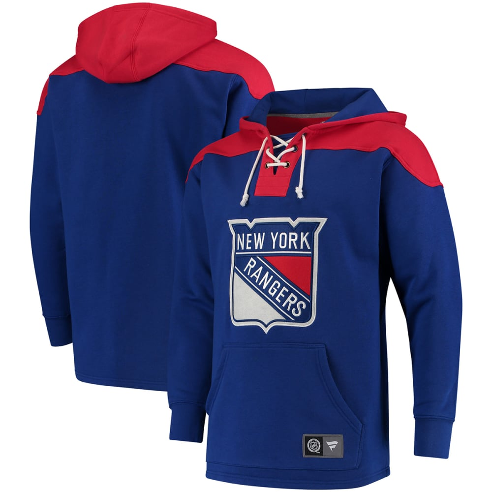 New York Rangers Men's True Classic Lace-Up Pocket Fleece Pullover Hoodie - Blue, M