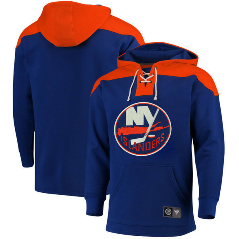 NEW YORK ISLANDERS Men's True Classic Lace-Up Pocket Fleece Pullover Hoodie - ROYAL BLUE