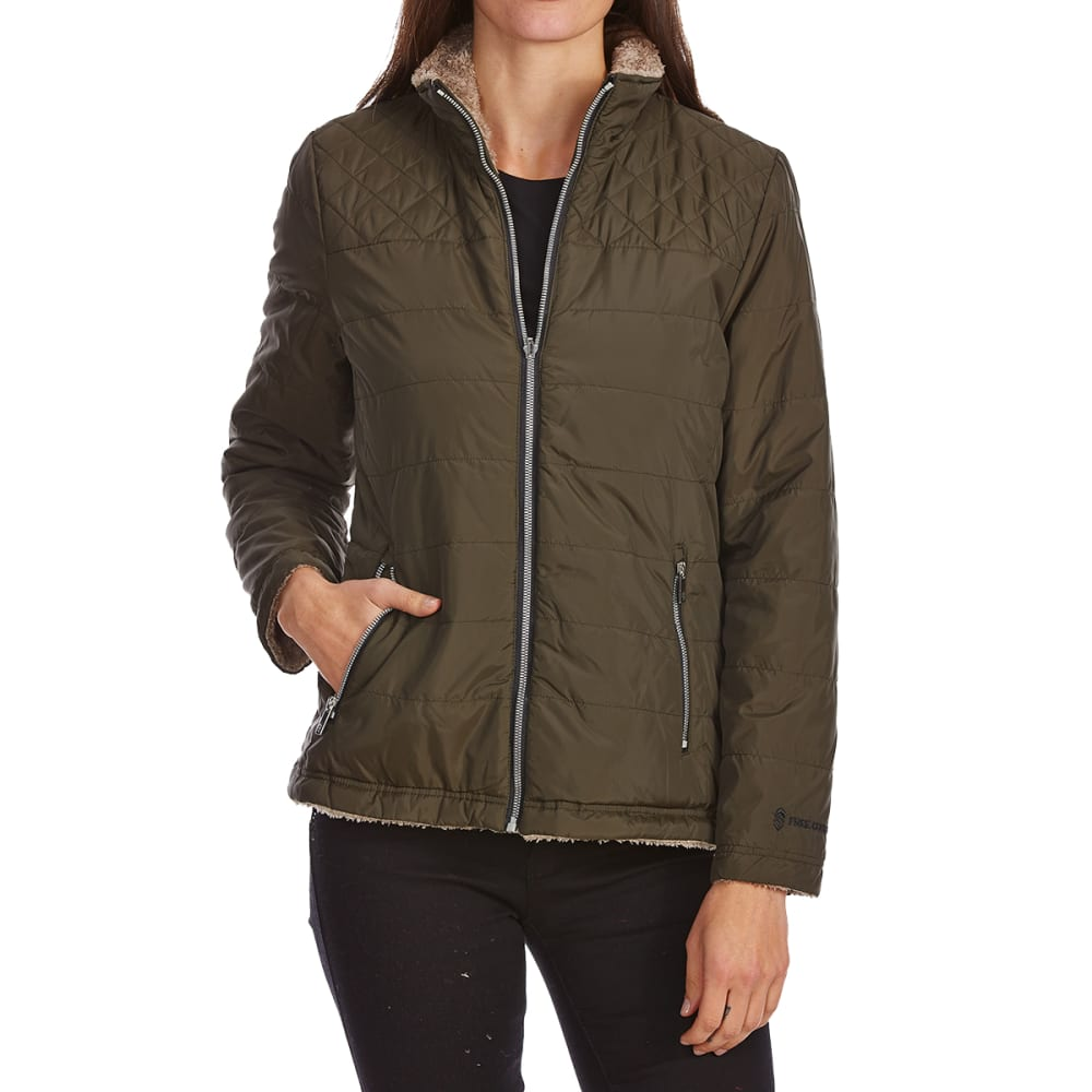 FREE COUNTRY Women's Cascade Quilted Reversible Jacket - DRK OLIVE/LATTE