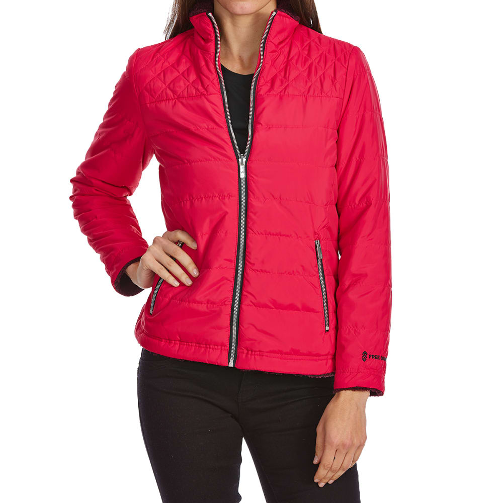 FREE COUNTRY Women's Cascade Quilted Reversible Jacket - CRIMSON ROSE/MAHOGAN