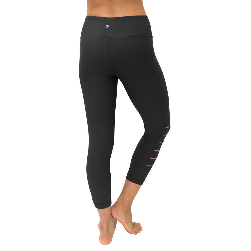 90 DEGREE BY REFLEX Women's Active Side Laser Capri Leggings - BLACK